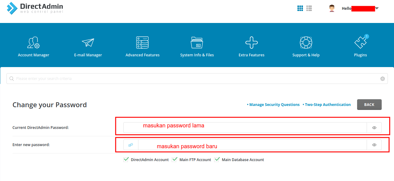 Cara merubah password Control Panel Directadmin
