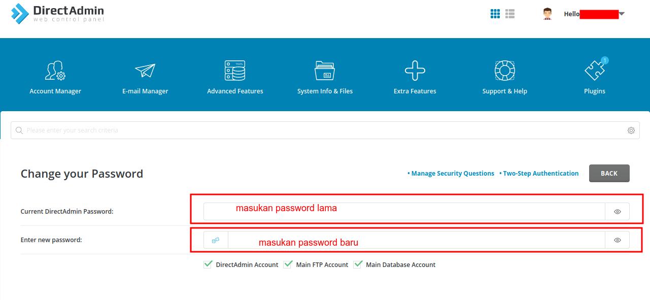 Cara merubah password Control Panel Directadmin